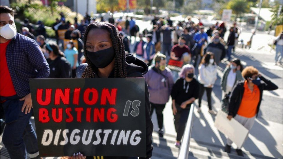 People protest in support of the unionizing efforts of the Alabama Amazon workers, in Los Angeles, California, U.S., March 22, 2021.