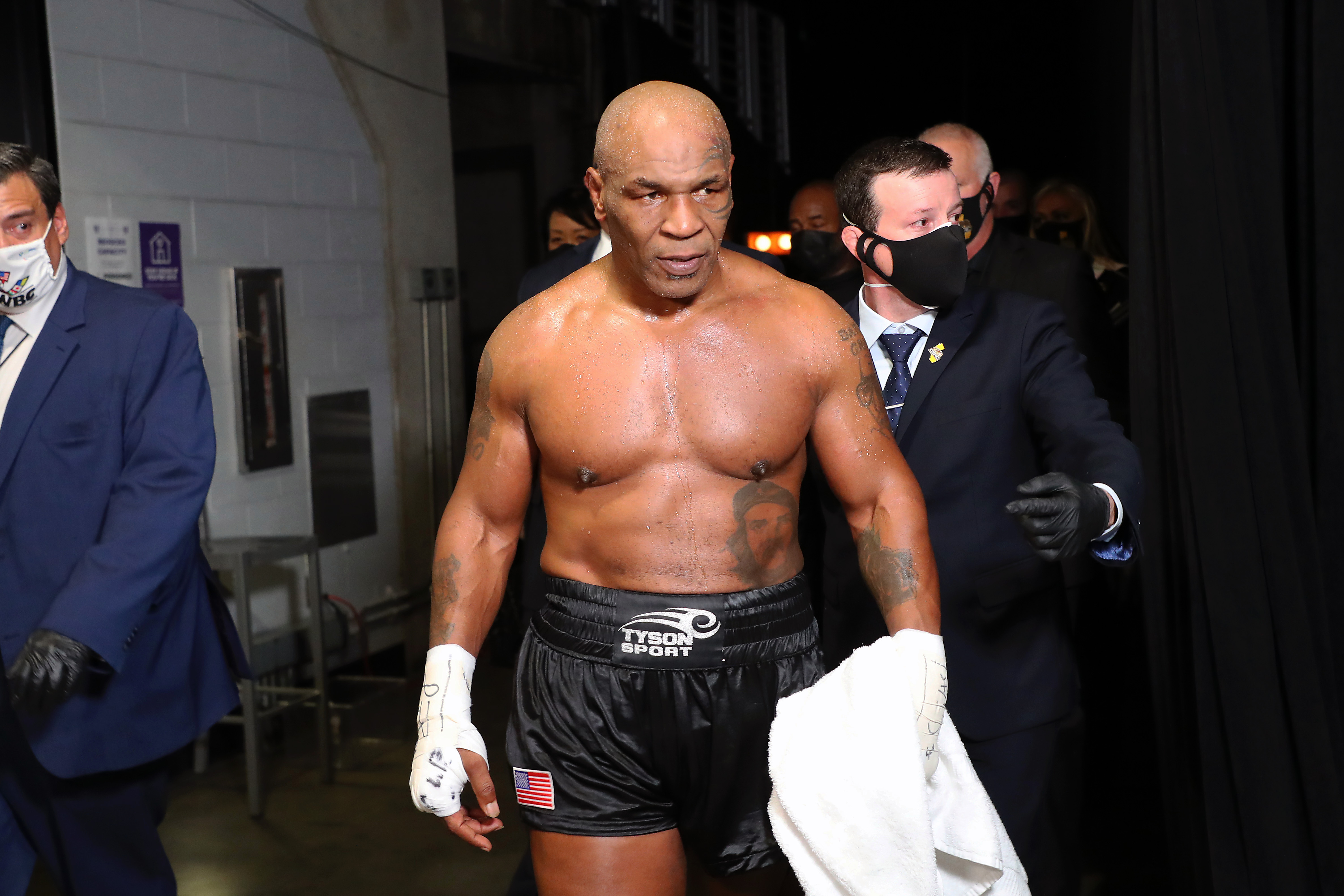 Tyson came back and fought an exhibition with Jones Jr – which ended in an unofficial draw