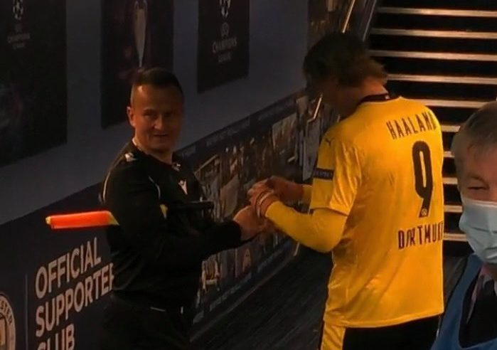Erling Haaland asked for autograph by 'childish' assistant referee in tunnel after Borussia Dortmund defeat to Man City in Champions League