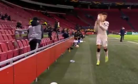 Ajax ball boy launches football at Roma star Riccardo Calafiori during Europa League clash