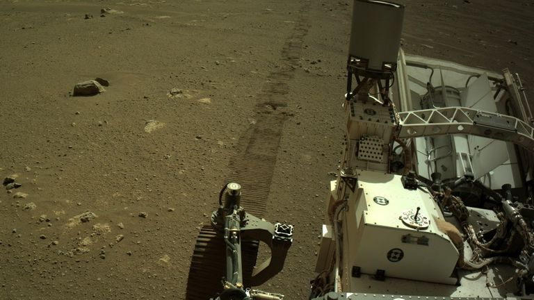 NASA's Mars Perseverance rover acquired this image using its onboard left Navigation Camera (Navcam). The camera is located high on the rover's mast and aids in driving