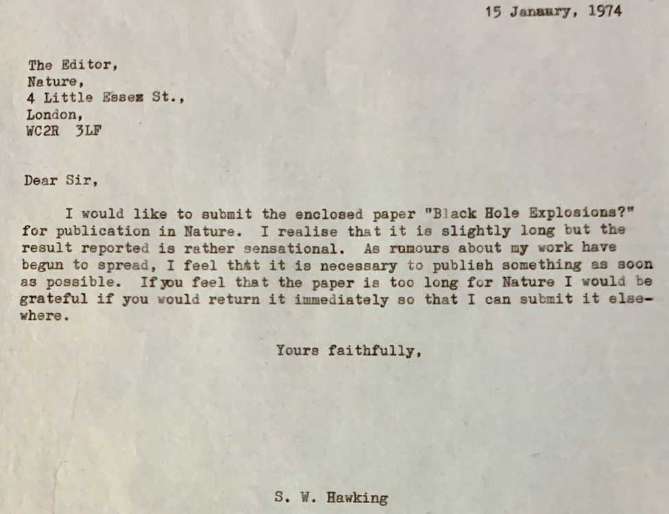 A covering letter from a confident young man to the editor of one of the most prestigious scientific journals in the world