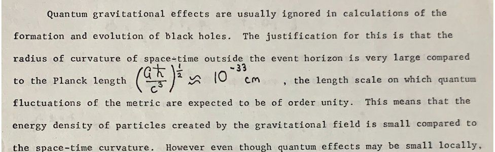 A section from Prof Hawking's breakthrough paper which suggested that black holes were not completely black